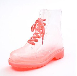 Wholesale Transparent Crystal Martin - Fashion transparent crystal ms candy color flat for rain boot Martin boots