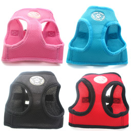 Wholesale Dog Collars Paws - Free shipping Dog Control Harness Soft Paw Rubber Mesh Walk Collar pet puppy harness 6 colors 3 sizes available
