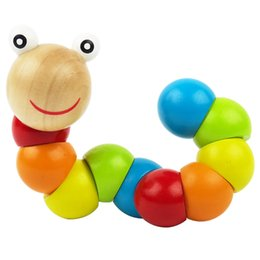 Wholesale Baby Variety - Wooden Caterpillar Toy Colorful Wooden Baby Twisting Insect Toys Baby Magical Insect Child Variety Twist-colored Educational Toys 1-3 year