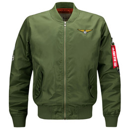 Wholesale Embroidered Patches Letters - Bomber Jacket ma1 bomber jacket men military jacket nasa tactical Stand collar air force 1 Motorcycle Embroidered Baseball Autumn big yards