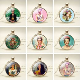 Wholesale Mexico Gifts - Wholesale Mexico Artist Frida Kahlo Pendant Necklace For Women 11 Styles Necklace For Gift Fashion Jewelry Free Shipping