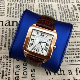 Wholesale Watch Women Rose Gold Classic - High Quality Women Men Watches Square Dial Face Classic lover watch Genuine Leather Lady wristwatch male Quartz Rose Gold free shipping