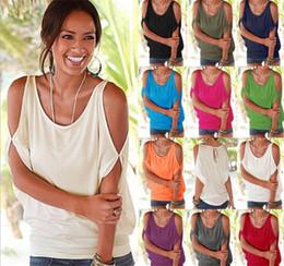Wholesale Dolman Sleeve Shirts - 10pcs 11colors Women Bare Shoulder T-shirt Tops Blouse Loose Batwing Tee Open Cold Shoulder Top M073