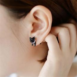 Wholesale Dimensional Animal Earrings - 1 Piece !! Three-dimensional Animal Leopard Cat Pearl Stud Earrings 4ED124