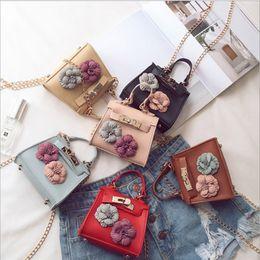 Wholesale Kids Crossbody Handbags - New Arrive Children Handbags Girls ute 3D Flower Messenger Bag Princess Shoulder Bag Kids Chain bag Crossbody Bags For Woman
