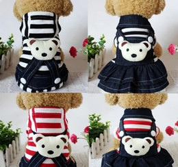 Wholesale Dog Clothes Bear - Stripe denim sweethearts outfit Dog clothes teddy clothes during the spring and autumn outfit dog pet VIP is four feet clothes skirt bears