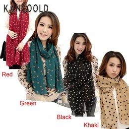 Wholesale Silk Scarves Girls - Wholesale- Garment Garment Girl Long Soft Silk Chiffon Scarf Wrap Polka Dot Shawl Scarve For Women