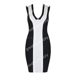 Wholesale Tight Stretch Dresses - New Dress Black and white V-neck Stretch knit tight Fashion mini Cocktail party bandage dress