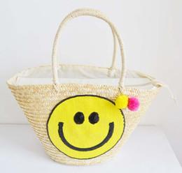 2019 sac de seau coréen Corée du Sud Designer Smile Sourire Sourire Beauté Straw Bucket Sac sac de seau coréen pas cher