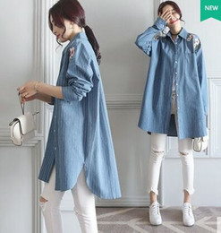 Wholesale Korean Frocks - New Arrival Fashion Korean Chiffon Elegant Loose Princess Long Sleeve Lovely Blue Stripe Frock Embroidery Temperament Cotton Shirts