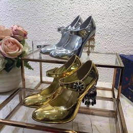 Wholesale Colour Lace Wedding Dresses - top quality new arrival women golden silver colour crystal heels genuine leather high heeled sheos, female party evening pumps free shipping