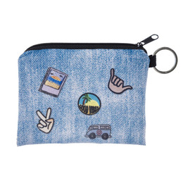 Wholesale cute denim bags - Wholesale- New Women Coin Purses Cute Girl Mini Bag Key Ring Case Zipper Wallet Lovely light denim Pouch Change Purse wholesaleCP4017