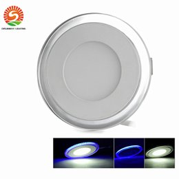 Wholesale Super Bright Color Led - Free Shipping Double color 10W 15W 20W LED Panel Light With Super Bright SMD2835, AC85~265V, Modern LED Ceiling Lights