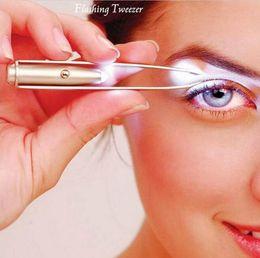 Wholesale Eyebrow Tweezers Light - In-business LED TWEEZER Hot Sale Make Up Led Light Eyelash Eyebrow Hair Removal Tweezer Face Hair Remover Stainless Steel Eyebrow Tweezers