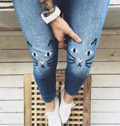 Wholesale kawaii pants - Wholesale- New Womens kawaii Cat Embroidery Denim Pants Light Blue High Waist Skinny Jeans Pants Jeans Feminino taille haute pantalon pants