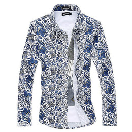 Wholesale Men S Slim Formal Shirts - Wholesale- 6XL Printed Blouse Men Designs Casual Chemise Homme Floral Dress Shirts Fashion Slim Blusa Masculina Brand Formal Camisa Social