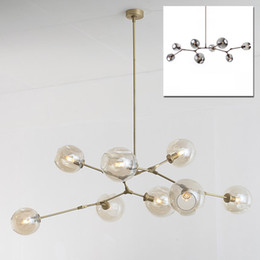 Wholesale Vintage Industrial Lamps - Vintage magic hanging light stylish sphere ball industrial LOFT Iron droplight Black Gold tree classic modern LED pendant lamp