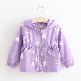 Wholesale Baby Toddler Coats - 2017 Fashion Baby Girls Jackets Cotton Miki Mouse Print Hooded Coat Vintage Toddler Clothes Spring Kid Clothing Children Outwear Outfit B025