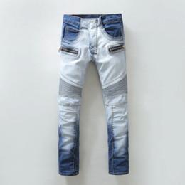 Wholesale Jean Capris For Men - Wholesale-2016 Mens Blue Skinny Biker Jeans Famous Brands Denim Joggers Pants for Man 100% Cotton Brand Slim Fit Jean Demin Trousers Sales