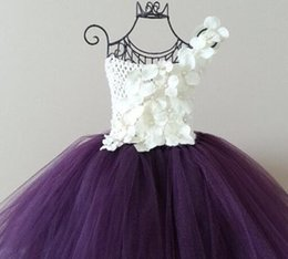 Wholesale Size 13 Wedding Gown - Cute Flower Girl Tutu Dresses Purple White PinK Flower Girls Wedding Dress Birthday Photo props Pageants Size 2T-10Y Custom made