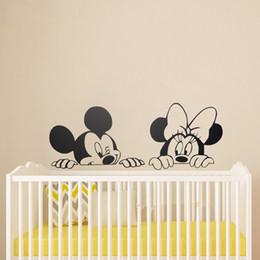 Wholesale Minnie Wallpaper - nursery decal ZN B38 Cartoon Mickey Minnie Mouse Cute Animal Vinyl stickers Mural Wallpaper Baby Room Decor Nursery Wall Decal