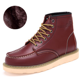 Wholesale winter boots for work - Wholesale-Winter Snow Work Martin Boots Men Lace-Up Genuine Leather Plush Cotton Shoes Cowboy Ankle Boots For Men Medium Bota Masculina