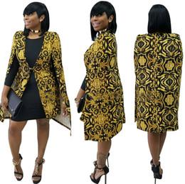 Wholesale V Neck Windbreaker - Wholesale- 2017 Womens Windbreaker Jacket Sleeveless Dashiki cape Cardigan Cloak British Vintage Gold Floral Ladies Casual Basic Coats