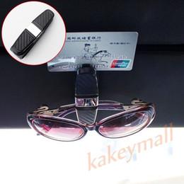 Occhiali id online-Accessori per veicoli stile auto in fibra di carbonio Occhiali da sole neri Clip Visiera parasole Occhiali da vista Porta biglietti da visita Porta tessere