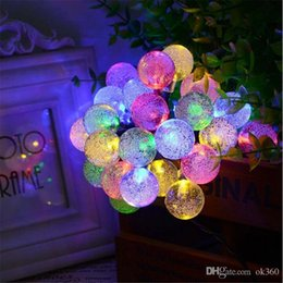 Wholesale Crystal Drop Decorations - HOT 30 LED Solar Outdoor String Lights 20ft 30LED Crystal Ball Globe Solar Powered Globe Fairy Lights Christmas Decoration Outdoor Lighting