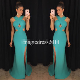 Wholesale Modest Evening Gowns For Cheap - Modest 2017 Prom Evening Dresses Mermaid Keyhole Neck Pleated Ruffled Long Formal Celebrity Dress for Party Gowns Cheap