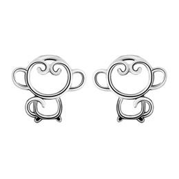Wholesale Womens Sterling Silver Earrings - 5 pairs lot Womens 925 Sterling Silver Hollow Out Cute Animal Monkey Stud Earrings Xmas Gift Sterling-silver-jewelry