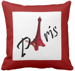 "Wholesale Eiffel Tower Backgrounds - Throw Pillow Case Paris with Eiffel tower on red background Square Sofa Cushions Cover, ""16inch 18inch 20inch"", Pack of X"