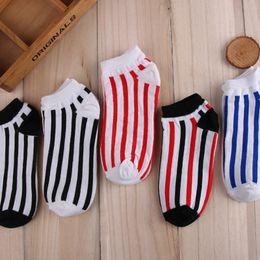 Wholesale Stripe Sweat - No Show Men Women Socks Cotton Sport Low Ankle Stripe Sock Slippers Invisible Sweat Absorption Breathable
