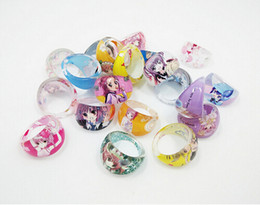 Wholesale Cute Japanese Jewelry - New 100 pcs set Cartoon Japanese Anime Jewelry Acrylic Ring Children Cute Ring For Kid Gift Free Shipping