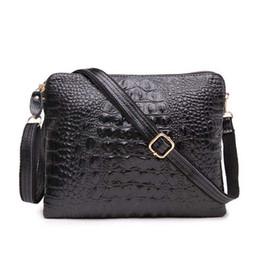Wholesale Aligator Leather - Wholesale- 2016 Brand Designer Women Genuine Leather Handbags Lady Messenger Shoulder Bags Women Aligator Clutch Bag Ipad Mini Bags