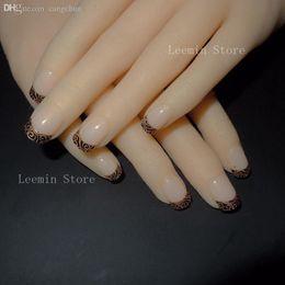Wholesale Royal Nails - Wholesale-2015 false nail , Golden noble grace 24 pcs   set fashion pattern Royal temperament