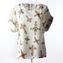 Wholesale Top Neck Patterns Blouse - Women's Chiffon Blouses Short Sleeve Loose Tops Heart Animal Stripe Leopard Print Pattern Shirt Plus size new Crew Neck Dolman Sleeve