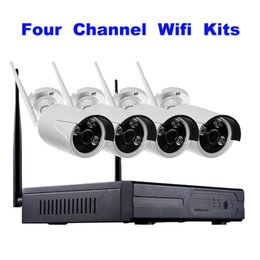 Wholesale Network Nvr System - Wireless Wifi NVR Kits 4CH 720P network camera WiFi IP bullet cameras kits CCTV Security System NO HDD