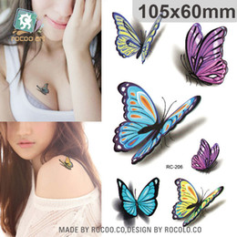 Wholesale Colours For Tattooing - Wholesale-Body Art waterproof temporary tattoos for men and women 3d sexy colours butterfly design small tattoo sticker Wholesale RC2206