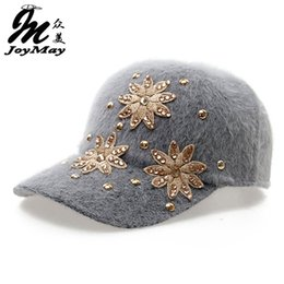 Wholesale Tennis Candy - Wholesale- Free shipping fashion winter hat candy solid color rabbit fur baseball cap Flower Women's Autumn and Winter cap W007