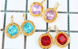 Wholesale Cheap Gold Earrings Diamonds - Big dimond Crystal alloy earrings cheap colour earrings three colors red blue purple can choose shipping free