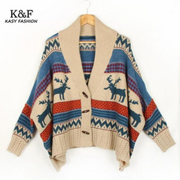 Wholesale Skull Long Knit Sweater - Wholesale- 2016 Winter Women Sweater Coat Batwing Sleeve Ethnic Loose Slim Wool Cardigan Striped Skull Patterned Cardigan Tricot Poncho