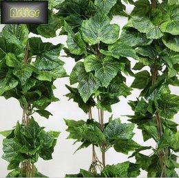 Wholesale Vine Fruit - Wholesale-Simulation Grape Leaf Vine Fruit Vine Artificial Flowers Ceiling Decoration Floral Decorations AD0132