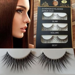 Wholesale Sexy Semi - 60pair lot Sexy 100% Handmade 3D natural mink hair Beauty Thick Long False Mink Eyelashes Fake Eye Lashes Eyelash High Quality Free shipping