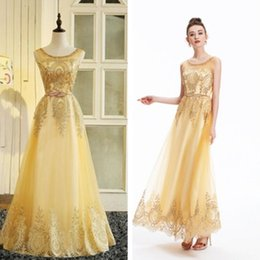 Wholesale Quinceanera Mothers Dress - Tulle Lace Muslim Gold Evening Dress Long Formal Gown Prom Robe De Soiree Mother of the Bride Dresses Come with Belt