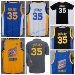 Wholesale Sleeve Flash - 2016 Hot 35 Kevin Durant Jersey Men Sale Throwback Kevin Durant Shirt Uniform Chinese Christmas Retro Blue White Yellow Black with sleeve
