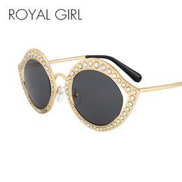 Wholesale Eyeglass Frames Crystal - ROYAL GIRL Crystal Circel Sunglasses For Women Vintage Brand Designer Eyeglasses ss052