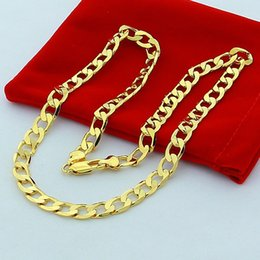 Wholesale Thick 14k Gold Chains - New Big 10MM Width Yellow Solid Gold Filled Cuban Chain Necklace Thick Mens Jewelry Womens Cool for dad boyfriend birthday gift