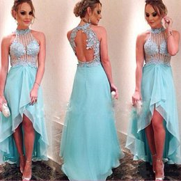 Wholesale hi ice - Ice Blue High Low See-through Sexy Prom Dress Appliques Beaded Mint Green Women Evening Party Gown Open Back Hi-Lo Prom Gowns