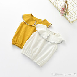 Wholesale Wholesale Sleeveless Long Blouse - 2017 INS NEW ARRIVAL Girls Kids blouse Sleeveless ruffles collar yellow and white t shirt kid causal 100% cotton baby kid shirt 80-120cm